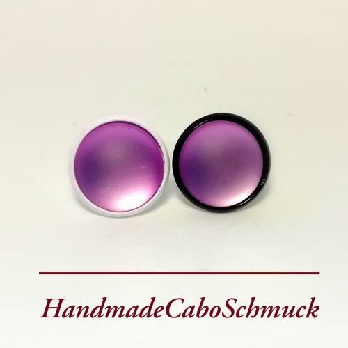 12mm Cabochon Ohrringe Ohrstecker, lila fluoreszierend