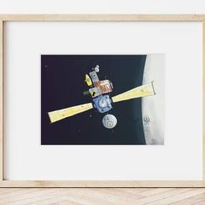 Kinderzimmer-Bild im Passepartout 30x24cm *Raumstation*, Illustration, Wandekoration für Kinderzimmer Bild 1