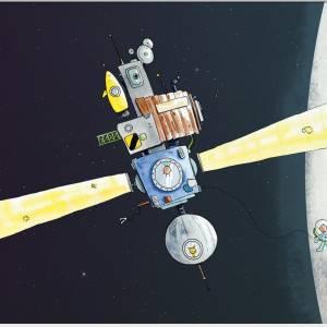 Kinderzimmer-Bild im Passepartout 30x24cm *Raumstation*, Illustration, Wandekoration für Kinderzimmer Bild 2