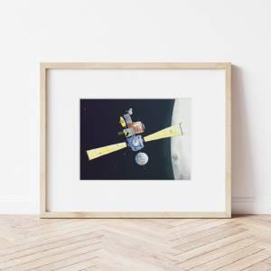 Kinderzimmer-Bild im Passepartout 30x24cm *Raumstation*, Illustration, Wandekoration für Kinderzimmer Bild 3