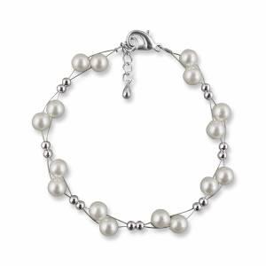 Brautarmband Perlen Armband, Silber Perlen, 925 Silber, Schmuckbeutel, Perlenschmuck, Hochzeit Armband, Brautaccessoire Bild 2