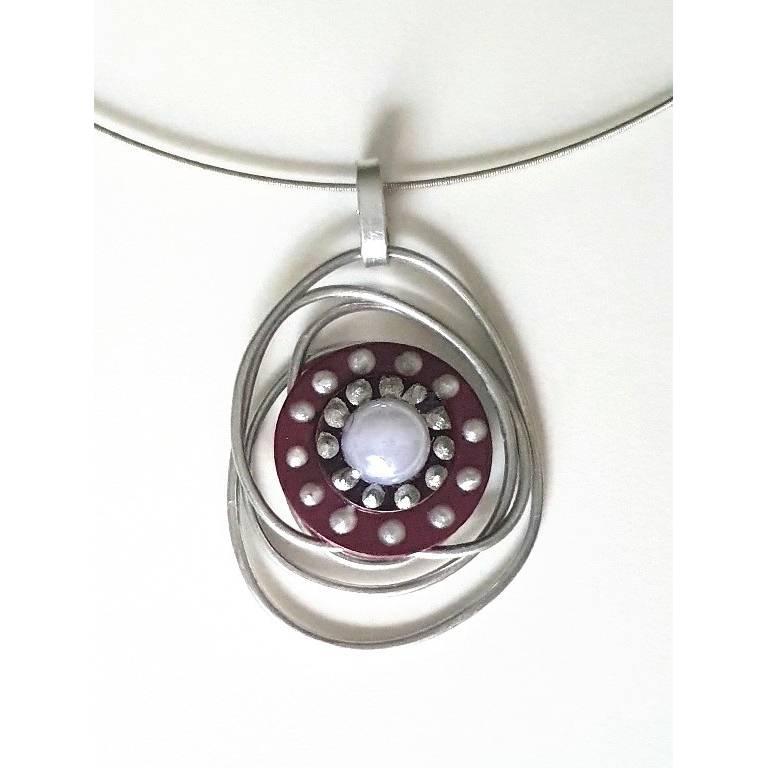 Kettenanhänger Scheibe Silber bordeaux Bild 1