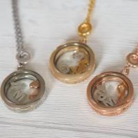 Medaillon Halskette mit initialen Buchstaben personalisiert für Damen Bild 6