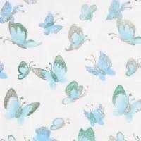 Deko-Stoff Butterfly türkis-metallic-silber Bild 1