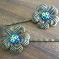 Bronze Kleblatt mit Glitzersteinchen  Haarspangen Haarklammern  Bild 1