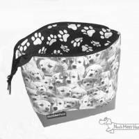 Täschchen, Kosmetiktasche, Projekttasche; für Strickzeug, Krimskrams... Nicht nur für Hundefreunde Bild 1