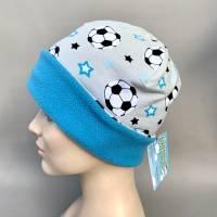 Kinder-Winter-Mütze, Long-Beanie für Jungs mit Fußball, warme Wendebeanie, Jersey mit Fleece gefüttert, Gr 53/54/55/56/5 Bild 3