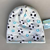 Kinder-Winter-Mütze, Long-Beanie für Jungs mit Fußball, warme Wendebeanie, Jersey mit Fleece gefüttert, Gr 53/54/55/56/5 Bild 7
