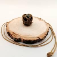 Makramee-Halskette mit Falkenauge - Kugel, Valentinstags-Geschenk Bild 7
