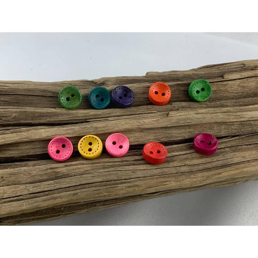 10 runde, bunt durchgefärbte Holzknöpfe * 10 mm * gelb rosa rot grün blau orange lila  * Knöpfe * Scrapbooking * Motivkn Bild 1