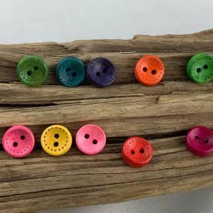 10 runde, bunt durchgefärbte Holzknöpfe * 10 mm * gelb rosa rot grün blau orange lila  * Knöpfe * Scrapbooking * Motivkn Bild 2