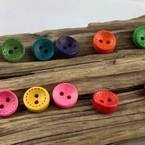 10 runde, bunt durchgefärbte Holzknöpfe * 10 mm * gelb rosa rot grün blau orange lila  * Knöpfe * Scrapbooking * Motivkn Bild 3
