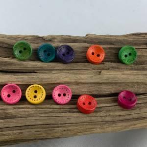 10 runde, bunt durchgefärbte Holzknöpfe * 10 mm * gelb rosa rot grün blau orange lila  * Knöpfe * Scrapbooking * Motivkn Bild 4