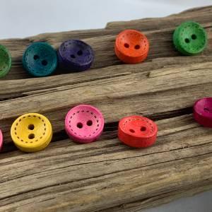 10 runde, bunt durchgefärbte Holzknöpfe * 10 mm * gelb rosa rot grün blau orange lila  * Knöpfe * Scrapbooking * Motivkn Bild 6