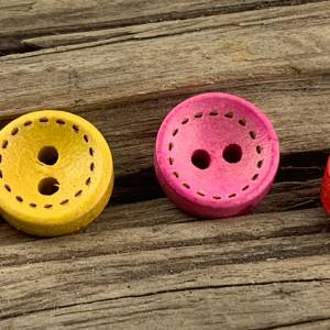 10 runde, bunt durchgefärbte Holzknöpfe * 10 mm * gelb rosa rot grün blau orange lila  * Knöpfe * Scrapbooking * Motivkn Bild 7