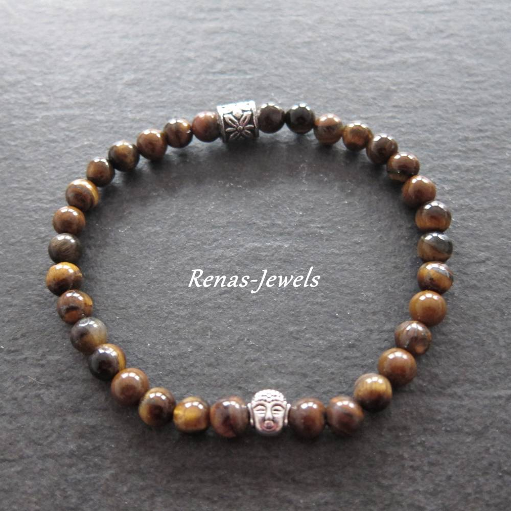 Herren Edelstein Armband Tigerauge braun silberfarben Männer Buddha Armband Bild 1