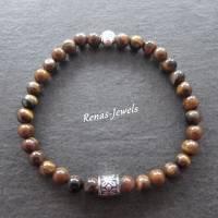 Herren Edelstein Armband Tigerauge braun silberfarben Männer Buddha Armband Bild 3