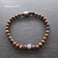 Herren Edelstein Armband Tigerauge braun silberfarben Männer Buddha Armband Bild 4