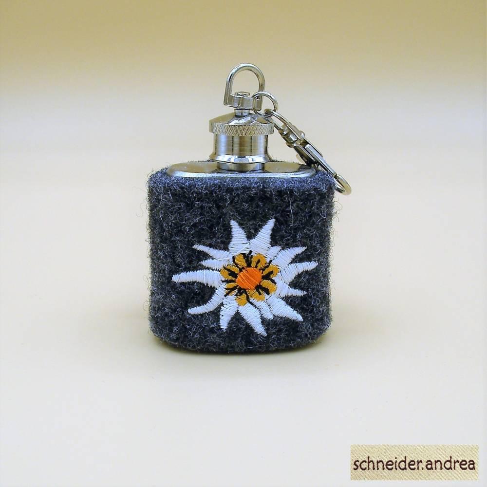 Mini - Flachmann mit bestickter Filzmanschette EDELWEISS Bild 1