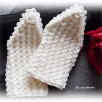 Handgestrickte Pulswärmer/Armstulpen mit Spitze für die Braut - Brautstulpen,Hochzeit,festlich,romantisch,wollweiß Bild 1