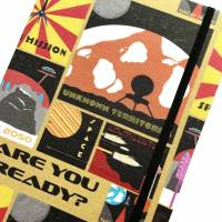"""Notizbuch """"Retro Space Journey"""" A5 Hardcover blanko stoffbezogen Planeten Universum Weltall Retro Geschenk Bild 1"""