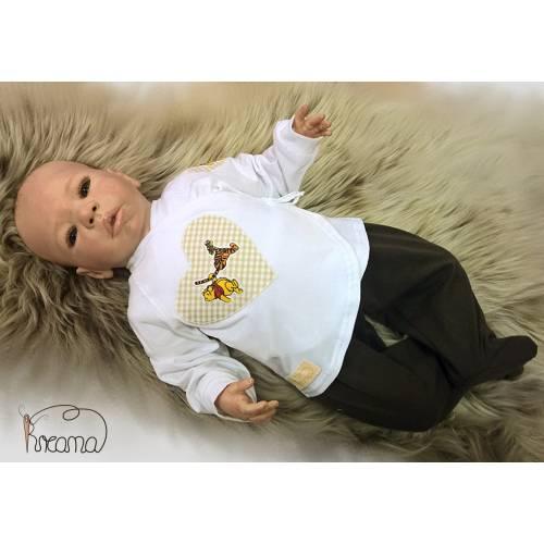 Babyshirt, Wickelshirt, Trico weiß mit Applikation Winnie Pooh, Größe: 56, Material: Trico: 95% Baumwolle, 5% Elasthan /