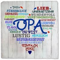 Wand-Schild Oma mit Herz Schiefer - Deko Wandbild Druck Schilder 20x20cm V-F Indoor - Wanddeko Geschenkidee Bild 1