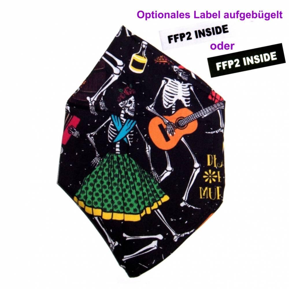 """Überzug für FFP2 Maske """"Totenfest"""" - einlagig - 100% Baumwolle - Waschbar - Stoffhülle - Stoffüberzug Bild 1"""