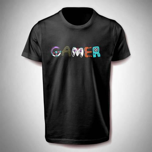 T-Shirt mit farbigem Gameraufdruck