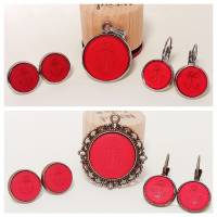 Cabochon Schmuckset Anker rot matt Polaris, 20mm Kettenanhänger, 12mm Ohrringe, Ohrstecker, Ohrhänger, Bronze, Edelstahl Bild 1