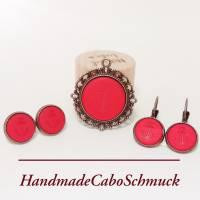 Cabochon Schmuckset Anker rot matt Polaris, 20mm Kettenanhänger, 12mm Ohrringe, Ohrstecker, Ohrhänger, Bronze, Edelstahl Bild 2
