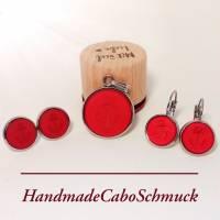 Cabochon Schmuckset Anker rot matt Polaris, 20mm Kettenanhänger, 12mm Ohrringe, Ohrstecker, Ohrhänger, Bronze, Edelstahl Bild 4
