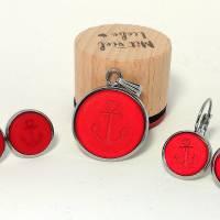 Cabochon Schmuckset Anker rot matt Polaris, 20mm Kettenanhänger, 12mm Ohrringe, Ohrstecker, Ohrhänger, Bronze, Edelstahl Bild 5