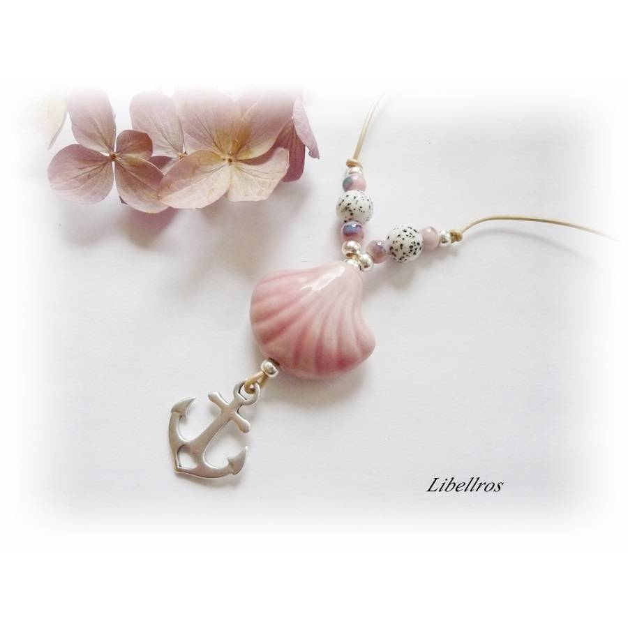 Lange Kette am Lederband mit Porzellanperle Muschel - Lederkette,Anker,maritim,modern,rosa Bild 1