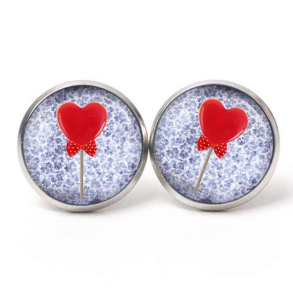 Ohrstecker Valentinstag Herz Lolly - verschiedene Größen - Edelstahl - Geschenkidee Just Trisha Bild 1