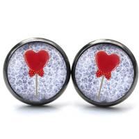 Ohrstecker Valentinstag Herz Lolly - verschiedene Größen - Edelstahl - Geschenkidee Just Trisha Bild 2