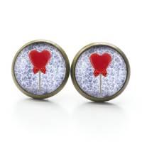 Ohrstecker Valentinstag Herz Lolly - verschiedene Größen - Edelstahl - Geschenkidee Just Trisha Bild 3