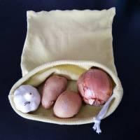 Stoffbeutel zur Aufbewahrung von Gemüse und Obst, Beutel für Kartoffeln und Zwiebeln, Baumwolle  Bild 3