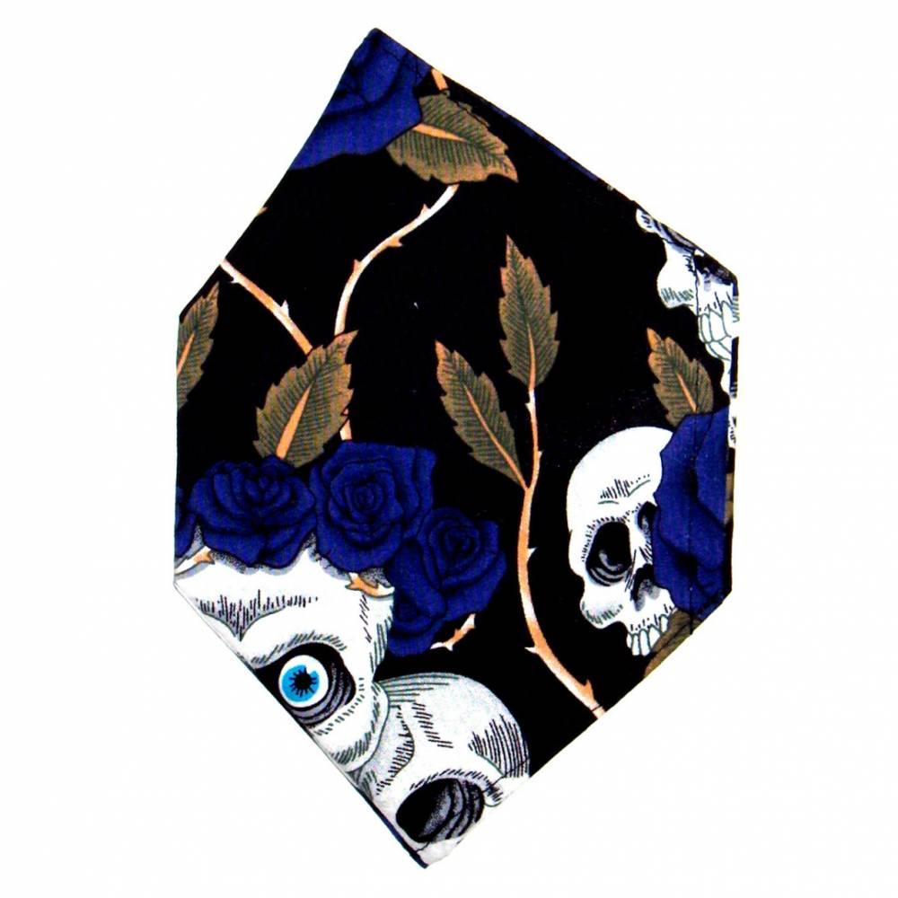 """Überzug für FFP2 Maske """"Skulls & Roses Blau"""" - einlagig - 100% Baumwolle - Waschbar - Stoffhülle - Stoffüberzug Bild 1"""