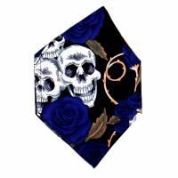 """Überzug für FFP2 Maske """"Skulls & Roses Blau"""" - einlagig - 100% Baumwolle - Waschbar - Stoffhülle - Stoffüberzug Bild 2"""