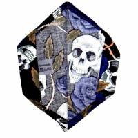 """Überzug für FFP2 Maske """"Skulls & Roses Blau"""" - einlagig - 100% Baumwolle - Waschbar - Stoffhülle - Stoffüberzug Bild 3"""