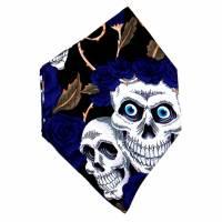 """Überzug für FFP2 Maske """"Skulls & Roses Blau"""" - einlagig - 100% Baumwolle - Waschbar - Stoffhülle - Stoffüberzug Bild 4"""