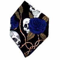 """Überzug für FFP2 Maske """"Skulls & Roses Blau"""" - einlagig - 100% Baumwolle - Waschbar - Stoffhülle - Stoffüberzug Bild 5"""