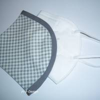 FFP2-Masken Überzug einlagig-Karo grau für Herren, Baumwolle, waschbar bis 60° Bild 1