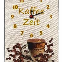 Wanduhr aus Naturstein Schiefer mit Quarz-Uhrwerk Design Kaffeezeit 30x20cm Wanddeko Geschenkidee  Bild 1