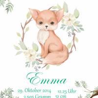 Poster Geschenk Geburtstag Geburtsdaten Geburt Taufe Fuchs 1 Bild 1