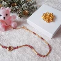 Edelstein Collier Turmalin Button Rosa-Pink, mit mattiertem Kreis und Schmuckteilen in Sterlingsilber 925/- vergoldet Bild 1