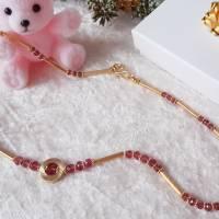 Edelstein Collier Turmalin Button Rosa-Pink, mit mattiertem Kreis und Schmuckteilen in Sterlingsilber 925/- vergoldet Bild 2