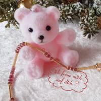 Edelstein Collier Turmalin Button Rosa-Pink, mit mattiertem Kreis und Schmuckteilen in Sterlingsilber 925/- vergoldet Bild 3