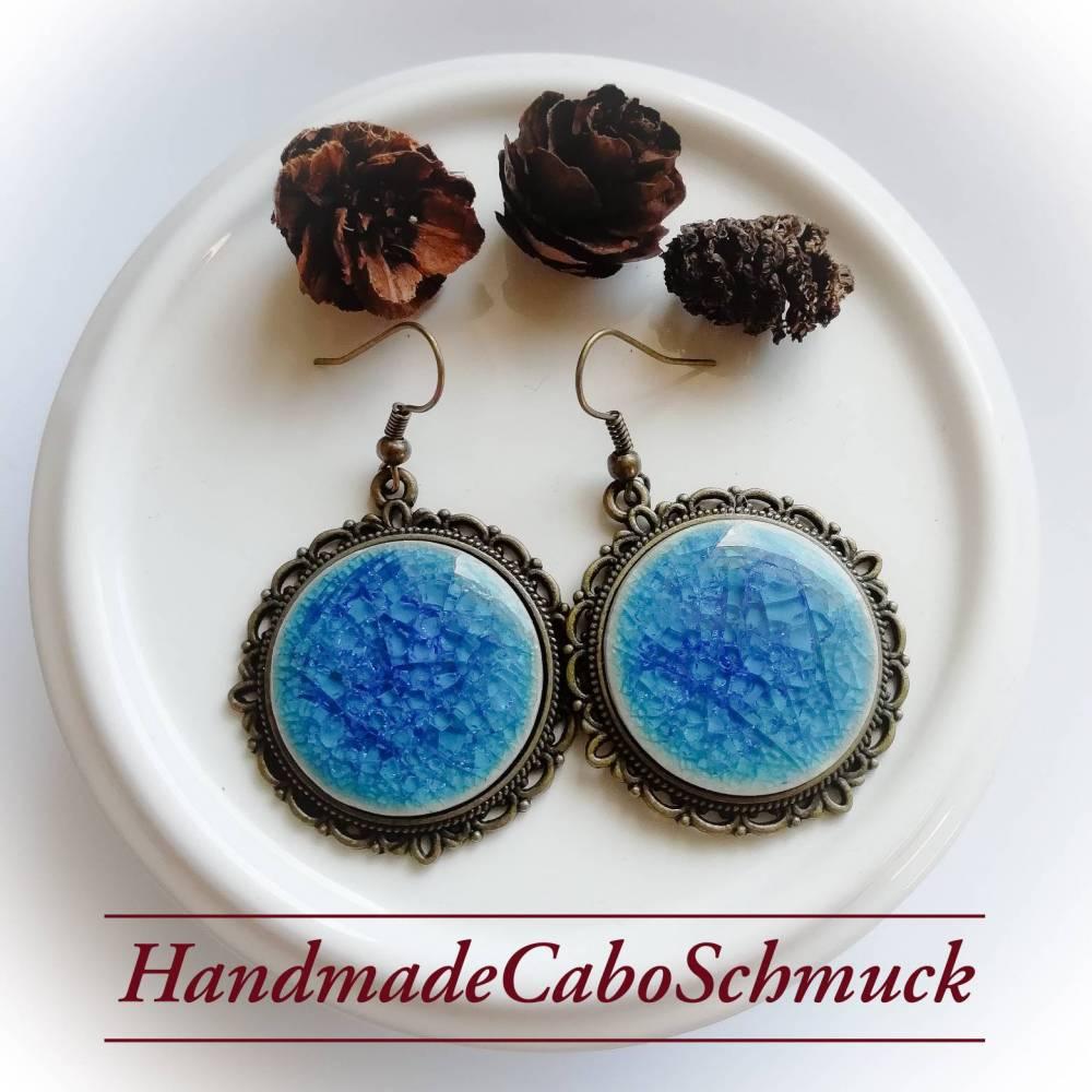 25mm Bronze Cabochon Ohrringe, Ohrhänger, cracked/crackled, Porzellan, blau, dunkelblau Bild 1